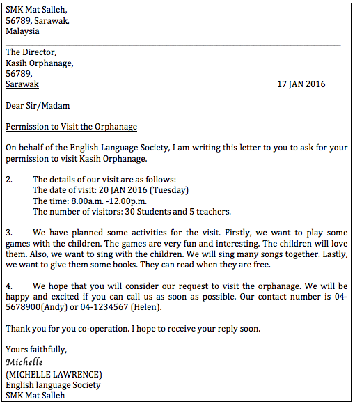 How To Write A Letter Of Permission Formal Letter Pt3 English Com